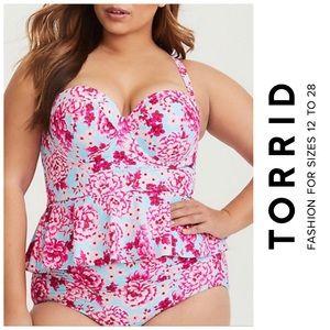Torrid Floral Multi-Way Push Up Peplum Tankini Top